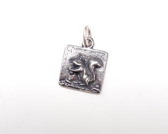 Squirrel Charm, Squirrel Necklace, Squirrel Jewelry, Silver Charm, Britanium Charm, Pewter Charm, Charm Bracelet, Square Charm