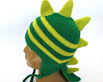 Crochet Dragon Hat Baby Boy 1 to 3 Year Size Dinosaur Hat Toddler Dragon Hat Crochet Baby Green Hat Costume Photography Photo Prop