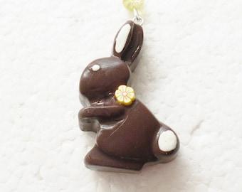 Dark Chocolate Bunny Pendant. Polymer Clay.