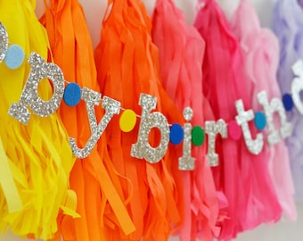 """Glitter Lowercase Letters & Felt Dots HAPPY BIRTHDAY Banner / Other Custom Colors Available / 2-3"""" Lowers / Smash Cake Photo Prop Sign"""