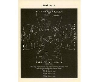 1942 JUNE constellations star map original vintage celestial astronomy print