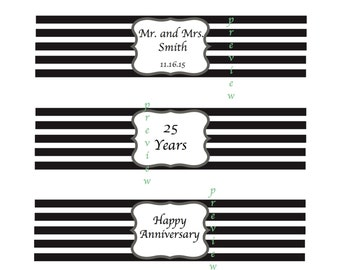 Happy Anniversary Water Bottle Labels, Anniversary Water Bottle Labels, Water Bottle Labels