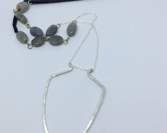Long Sterling labradorite necklace