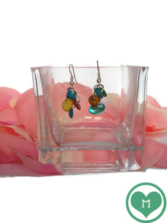 MOTHER of PEARL EARRINGS/long earrings/multicolor earrings/silver metal earrings