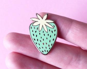 Green Strawberry enamel pin / light green enamel pin / girl gang / rose gold pin / hard enamel pin / strawberry badge