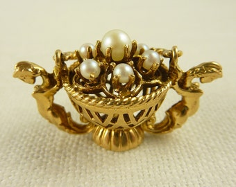 Vintage 14K Gold Etruscan Revival Epergne Basket with Mermaids and Pearls Large Heavy Charm