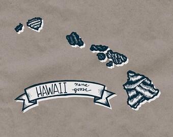Hawaii State Bird Print- Nene Goose, 8x10 inches.