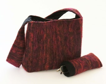 FELTED SPANISH RED Wool-Mohair Shoulder Bag / Purse / With Black Lining & Pockets (Ooak) from Upcycled Mohair Skirt / Eco Friendly Gift #042