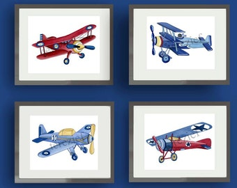 vintage airplane art, boys airplane art, vintage airplane pictures, airplane decor, airplane nursery artwork