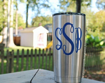 Monogrammed Stainless Tumbler, Ozark trail tumbler, Ozark tumbler, monogram decal, vinyl decal, 20 oz, Ozark cup, Personalized, decal,