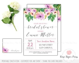 Floral Bridal Shower Invitation Set | Watercolor Flowers Wedding Shower Invitation Bundle | Printable or Printed Invitation | Floral Invites