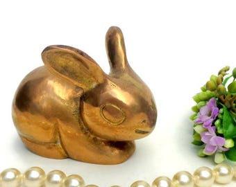 Rabbit Figurine Brass    Figurine  Brass Rabbit  Mama  - Baby Rabbit  Rabbit Decor - Miniature Rabbit - Brass animal home decor