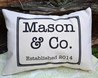Personalized pillow , Cotton anniversary, anniversary pillow, mothers day gift, wedding gift idea, ampersand Pillow Established Date, 2