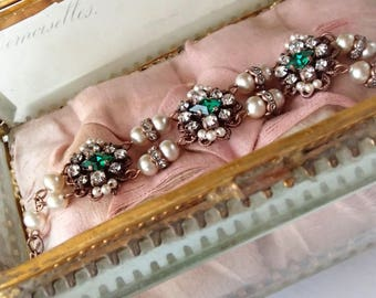 Emerald Princess Rhinestone Bracelet. Historically Inspired Jewelry. Emerald Green Jewelry for Victorian Style Cosplay Pearl Fantasy Jewelry