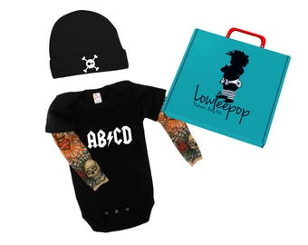 ROCKSTAR BABY KIT abcd onesie with tattoo sleeves, Hat and optional gift box