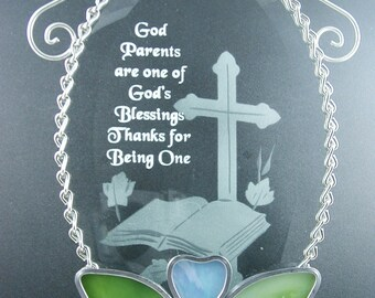 Stained Glass Suncatcher God Parent  Beveled Stained Glass Oval Suncatcher
