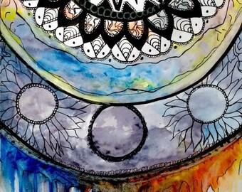 Watercolor Mandala Painting Print