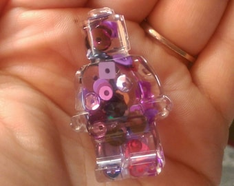 Purple sequined mini figure brooch, mini figure brooch, resin, purple man, sequin man, sequins mini figure, shiny brooch, sequin brooch