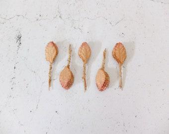 50 mini mulberry orange brown paper leaves (size 3)