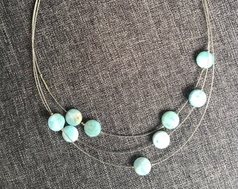 Necklace Delicate and tiny  with blue  Larimar.  Lenght  49 cm.  Wedding jewelry. Gift for her.