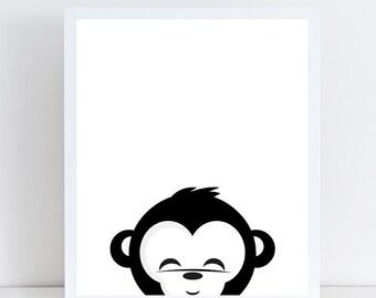 Monkey Print, Kids Room, Nursury Decor, Instant Download, Printable Art, Black White, Nursery Print, Wall Decor, Modern Print, Animal Print