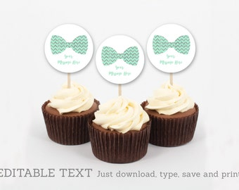 Cute Bow Tie Cupcake Toppers / Bow Tie Baby Shower / Chevron Pattern / Mint & Silver / INSTANT DOWNLOAD Editable PDF A152
