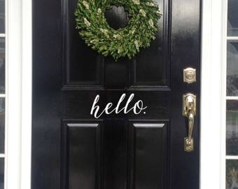 Front Door Hello Vinyl Decal - Front Door Sticker - Door Welcome Sign