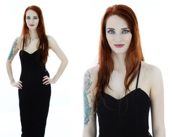 90s Black Velvet Dress Formal Party Vintage Sweetheart Bustier Top Boning Lace Bow 80s Bodycon Bandage Medium M