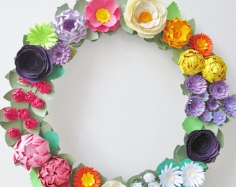 "Colorful Paper Flower Wreath (13.5"") - Wildflowers - Paper Flowers - Spring Wreath"