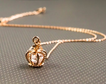 Rose gold necklace, Rose gold crown necklace, silver and rose gold crown necklace, crown necklace, everyday wear necklace