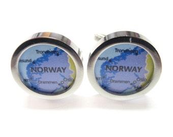 Norway Map Pendant Cufflinks