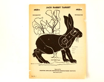 Vintage Winchester Jack Rabbit Shooting Target, 12 x 9 inches (c.1950s) - Collectible, Home Decor, Paper Projects, and more