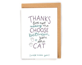 Valentines day card - Valentines card - Anniversary card - funny you and the cat food boyfriend card for him I love you card pet love card