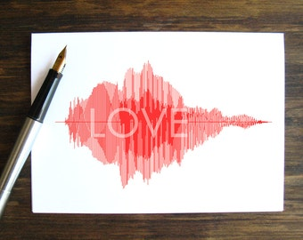 """LOVE - Voice Art / Sound Wave Greeting Card  -  Minimalist & Stylish Soundwave, Perfect to say """"I love you"""" on Valentine's Day"""