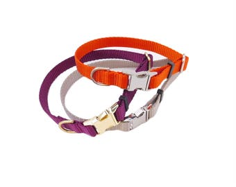 Dog Collar in Nylon Webbing- Available in Different Colors - Metal Buckle Collar
