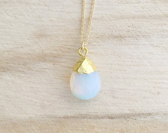 Opal gemstone drop necklace, opal necklace, gemstone necklace, opal jewelry, layering necklace, dainty gold necklace