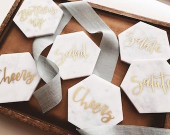 Custom Calligraphy Coaster Set | White Italian Marble | Housewarming Engagement Gift | Bar Cart Decor | Wedding Coasters | Coaster Gift