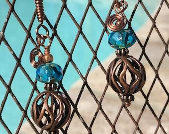 Copper Filigree Earrings, Turquoise Glass Beads, Filigree Earrings, Dangle Earrings, Handmade, Wire-wrapped