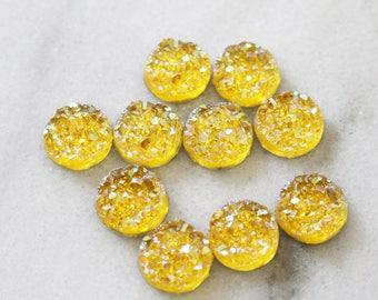 set of 10, faux druzy cabochon, yellow, resin cabochon, round cabochon, 12mm × 12mm, 12mm cabochon, transparent yellow