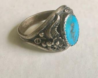 vintage fancy southwestern turquoise ring, size 12.5