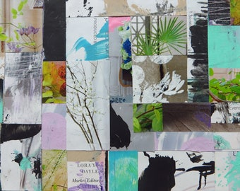 Mixed Media Collage, Abstract, Original Art, Modern, Colorful,Blue, Green