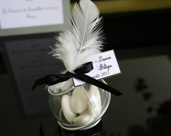 Boule Plexi 5cm Argent Noir Plume