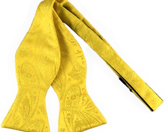 New Men's Paisley Yellow Self-Tie Bowtie, for Formal Occasions