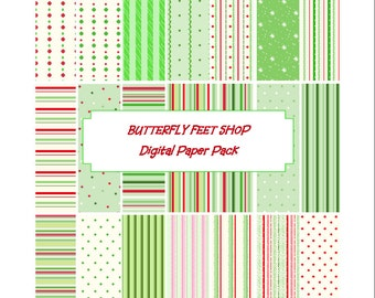Digital Christmas Papers, Printable PDF, Scrapbooking, Card Making, Holiday Papers, Letter size, Instant Download