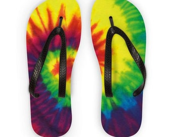 Tie Dye Rainbow Swirl Hippie Festival Flip Flops