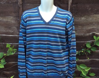 Vintage L  41-44 inch 104-111cm cotton sweater blue stripes Burton