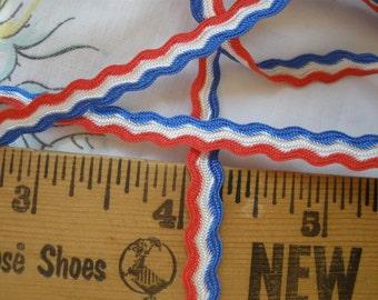 "Scallop Stripe Ribbon Red White & Blue striped 1/4"" Soutache braid Trim Edging Mixed Media yards yardage sewing costume embellish Patriotic"