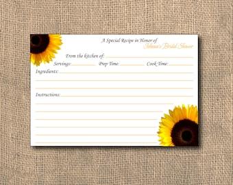 Sunflower Recipe Card,4x6, PRINTABLE, Shower Recipe Card, Recipe Card