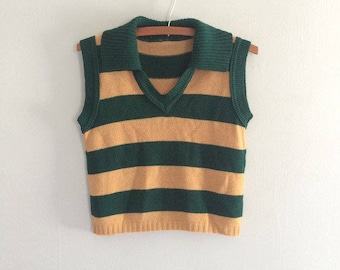 Genuine Vintage 1970s striped sweater vest / green and tan knit vest pullover vest sleeveless sweater