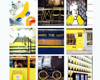 London Gallery Wall Art Prints, Yellow London Photography Collection, Large Photography